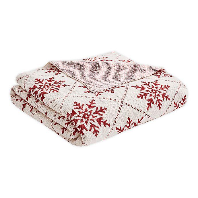Alternate image 1 for Madison Park Snowflake Throw Blanket in White/Red