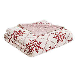 Madison Park Snowflake Throw Blanket in White/Red