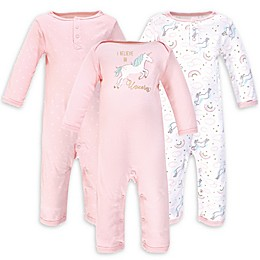 Hudson Baby® 3-Pack Glitter Unicorn Coveralls in Pink