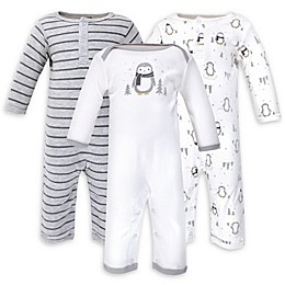 Hudson Baby® 3-Pack Penguin Long Sleeve Coveralls in Grey