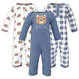 Hudson Baby® 3-Pack Little Bear Long Sleeve Coveralls