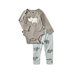 Tea Collection 2-Piece Rhino Pajama Set