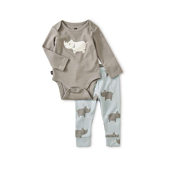 Alternate image 1 for Tea Collection 2-Piece Rhino Pajama Set
