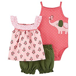 carter's® 3-Piece Elephant Bodysuit, Top and Short Set in Olive
