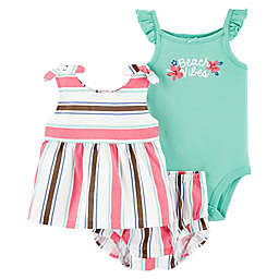 carter's® 3-Piece Stripe Bodysuit, Top and Short Set
