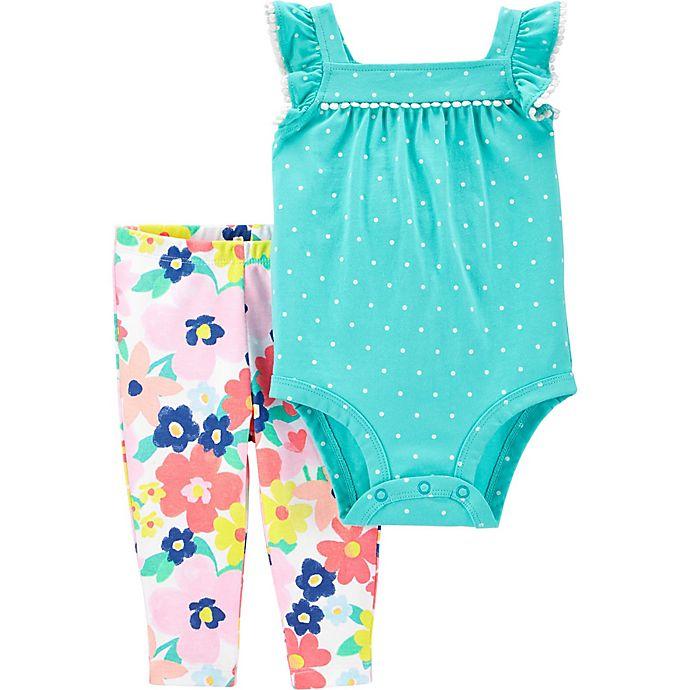 Alternate image 1 for carter's® Size 3M 2-Piece Dot Floral Bodysuit and Pant Set