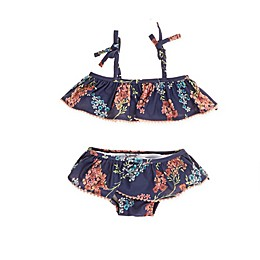 Jessica Simpson 2-Piece Floral Swimsuit in Navy