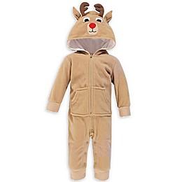 Hudson Baby® Reindeer Fleece Hooded Jumpsuit in Brown