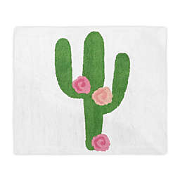 Sweet Jojo Designs Cactus Floral 2'6 x 3' Hand Tufted Accent Rug in Pink/Green