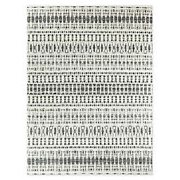 Sylviane Woven Area Rug in White/Charcoal