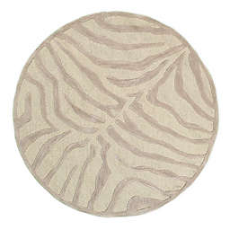 """LR Home Zebra 7'6"""" Round Tufted Area Rug in Taupe/Silver"""