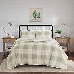 Madison Park Morrison 3-Piece Reversible Buffalo Check King/California King Coverlet Set in Taupe