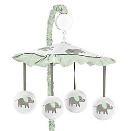Sweet Jojo Designs Elephant Musical Mobile in Grey/Mint