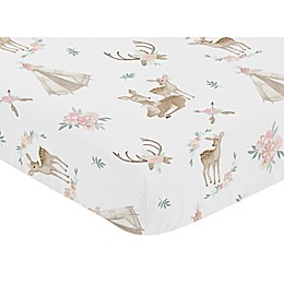 Sweet Jojo Designs Deer Floral Fitted Crib Sheet in Pint/Mint