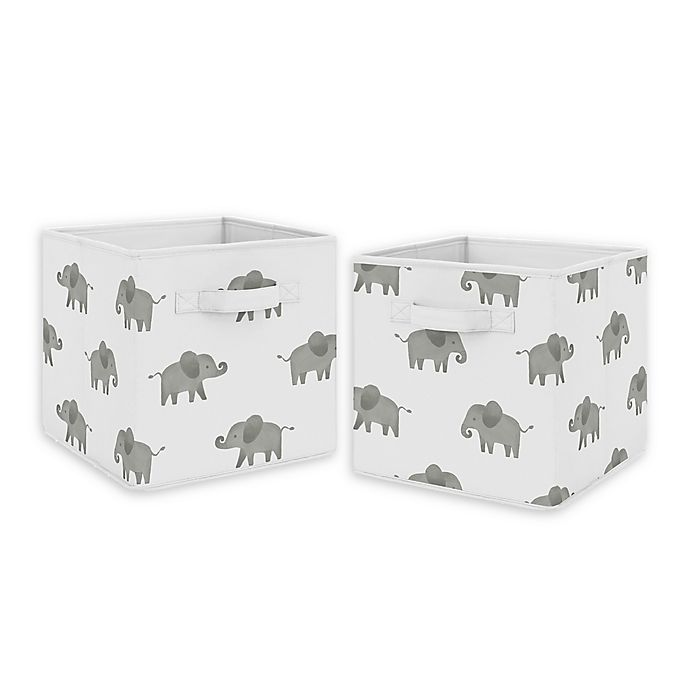 Alternate image 1 for Sweet Jojo Designs Elephant Fabric Storage Bins in Grey/White (Set of 2)