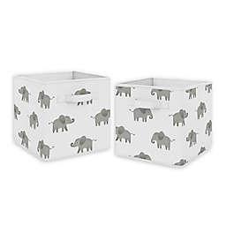 Sweet Jojo Designs Elephant Fabric Storage Bins in Grey/White (Set of 2)