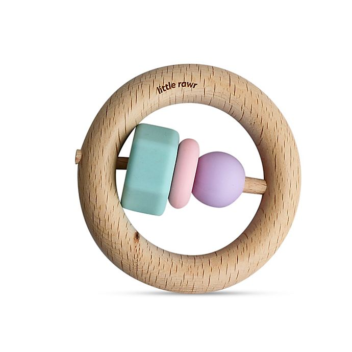 Alternate image 1 for Little Rawr™ Silicone and Wood O Teether