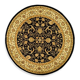 Safavieh Lyndhurst Scroll Pattern 5-Foot 3-Inch Round Rug in Black and Ivory
