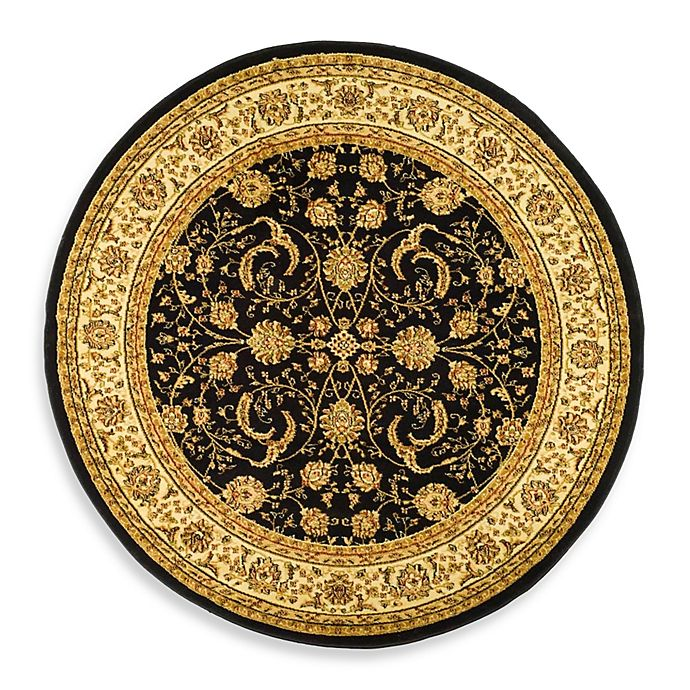 Alternate image 1 for Safavieh Lyndhurst Scroll Pattern 5-Foot 3-Inch Round Rug in Black and Ivory