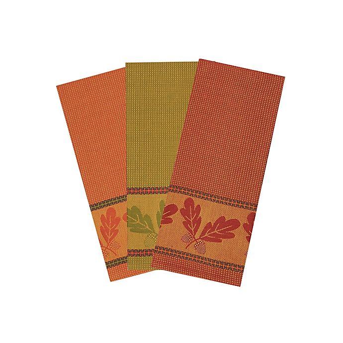 Autumn Acorn Fall Jacquard Kitchen Towels (Set of 3) | Bed ...