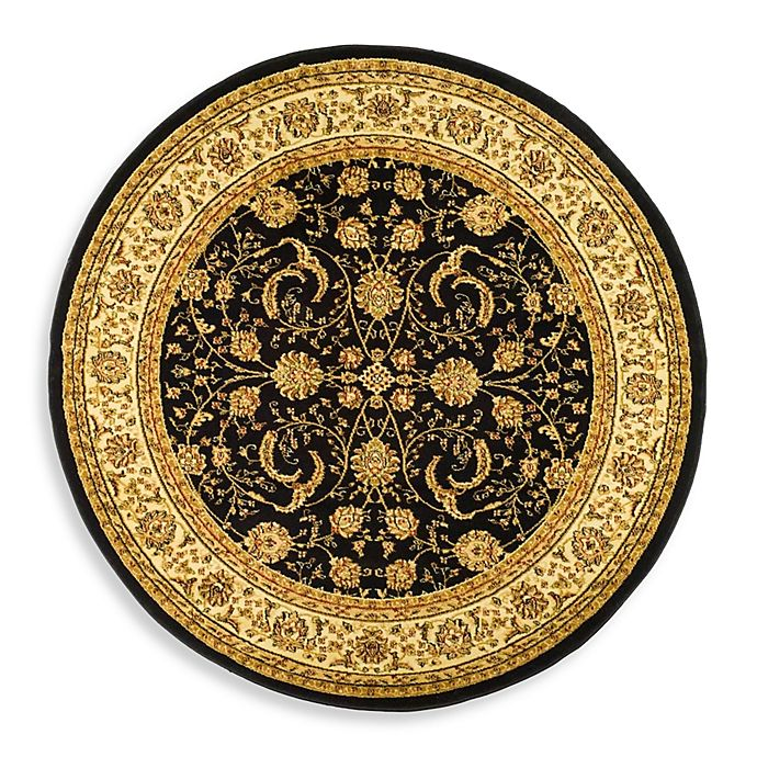 Alternate image 1 for Safavieh Lyndhurst Scroll Pattern 8-Foot Round Rug in Black and Ivory