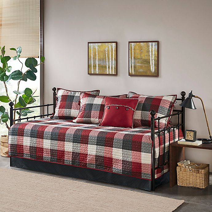 Alternate image 1 for Madison Park Ridge Reversible 6-Piece Daybed Set in Red