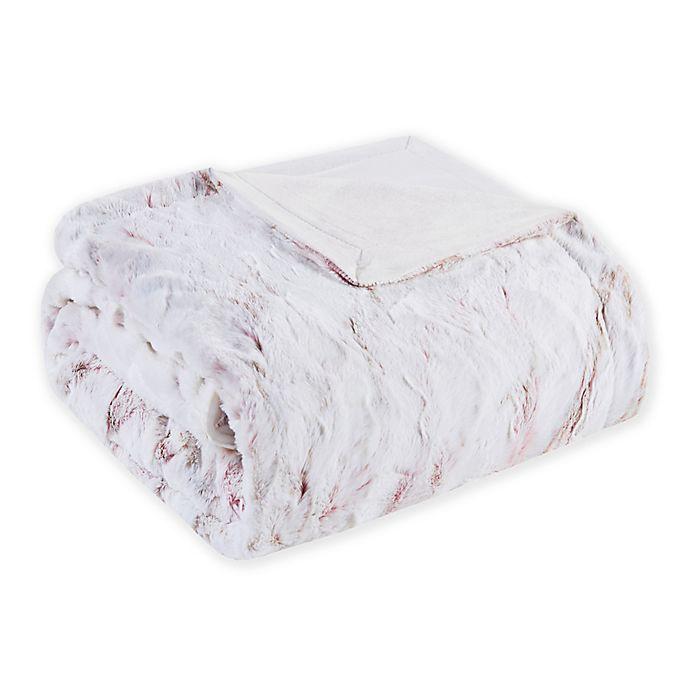 Alternate image 1 for Madison Park Sachi Oversized Faux Fur Throw Blanket in Blush