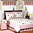 Part of the Sweet Jojo Designs Mod Dots Bedding Collection in Pink/Chocolate