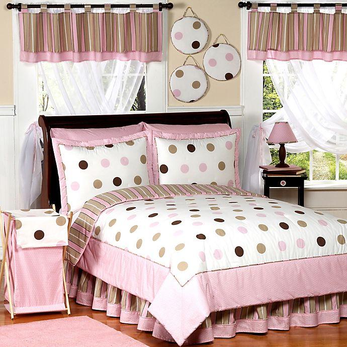 Alternate image 1 for Sweet Jojo Designs Mod Dots 3-Piece Full/Queen Comforter Set in Pink/Chocolate