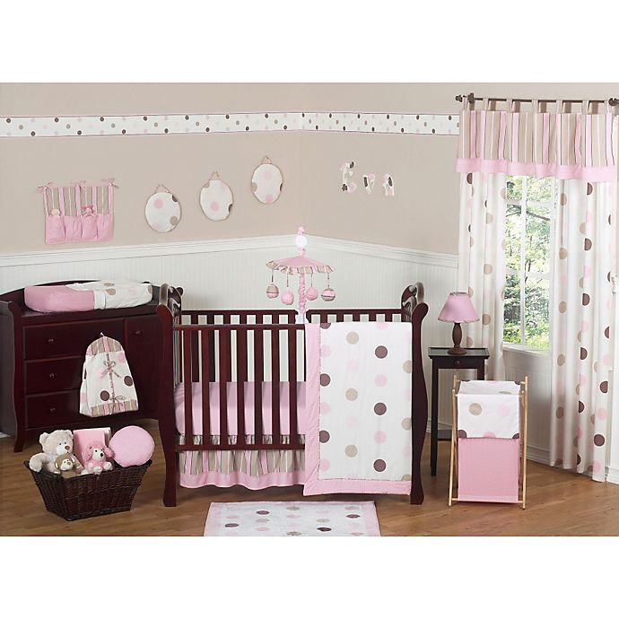 Alternate image 1 for Sweet Jojo Designs Mod Dots Collection 11-Piece Crib Bedding Set in Pink/Chocolate