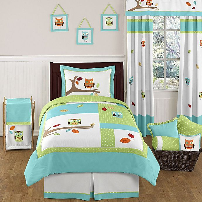 Alternate image 1 for Sweet Jojo Designs Hooty 4-Piece Twin Bedding Set in Turquoise and Lime