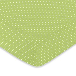 Sweet Jojo Designs® Hooty Fitted Crib Sheet in Lime Mini Dot