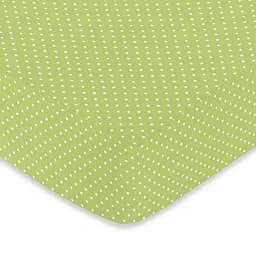 Sweet Jojo Designs® Hooty Fitted Crib Sheet in Lime Mini Dot