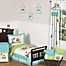 Part of the Sweet Jojo Designs Hooty Toddler Bedding Collection in Turquoise/Lime
