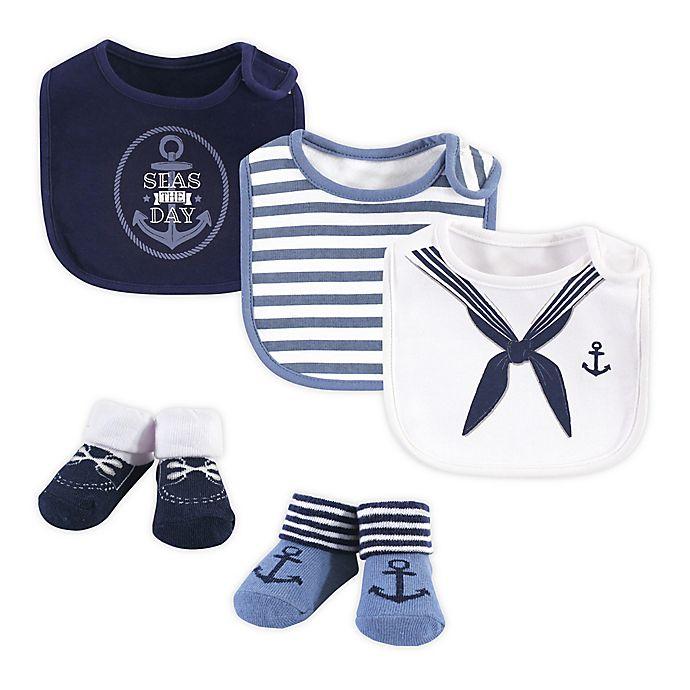 Alternate image 1 for Little Treasure 5-Piece Sailor Bib and Sock Set in Blue/White
