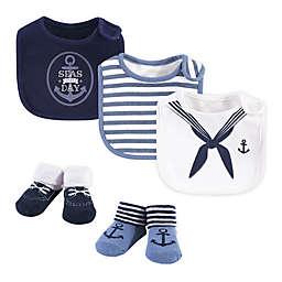 Little Treasure 5-Piece Sailor Bib and Sock Set in Blue/White