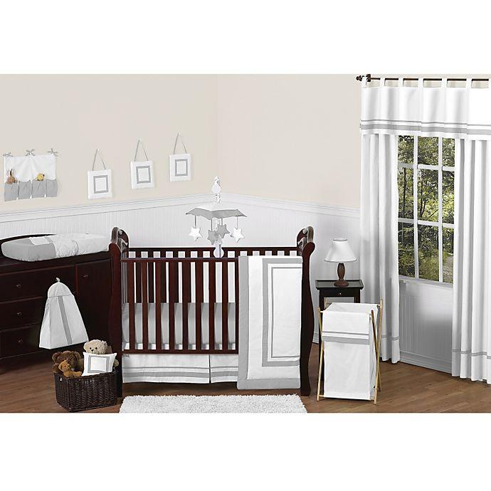 Alternate image 1 for Sweet Jojo Designs Hotel 11-Piece Crib Bedding Set in White/Grey