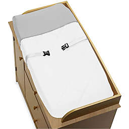 Sweet Jojo Designs Hotel Changing Pad Cover in White/Grey
