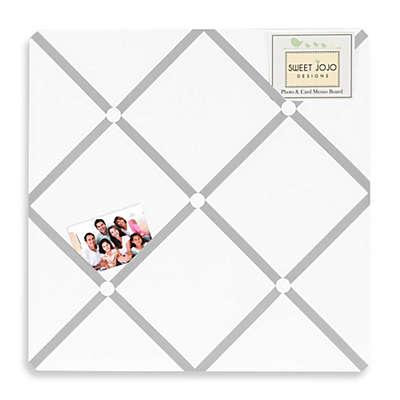 Sweet Jojo Designs Hotel Fabric Memo Board in White/Grey