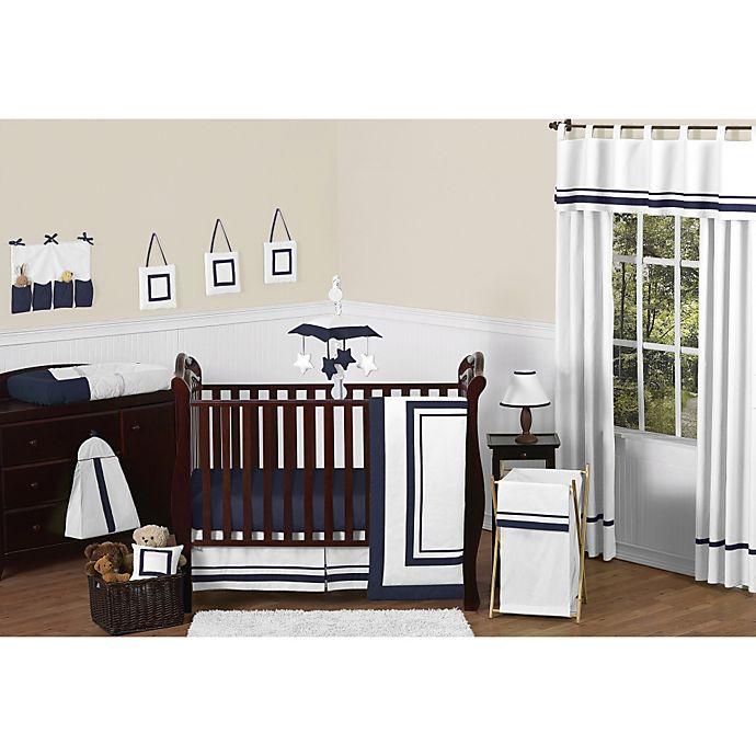 Alternate image 1 for Sweet Jojo Designs Hotel 11-Piece Crib Bedding Set in White/Navy