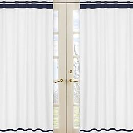 Sweet Jojo Designs Hotel Window Panels in White/Navy (Set of 2)