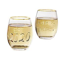 Mud Pie® Embossed Stemless Wine Glasses (Set of 2)