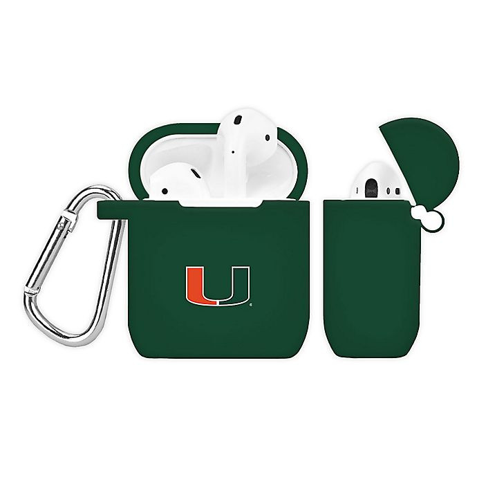 Alternate image 1 for University of Miami Silicone Cover for Apple AirPods Charging Case in Green