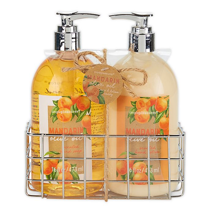 Alternate image 1 for Simple Pleasures Fancy Caddy Hand Soap and Hand Cream in Mandarin Olive Oil