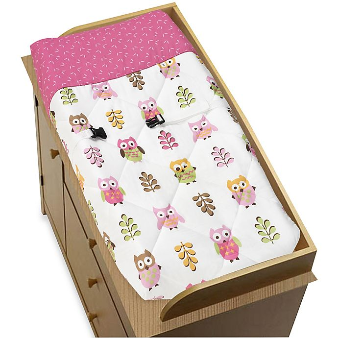 Alternate image 1 for Sweet Jojo Designs Happy Owl Changing Pad Cover in Pink