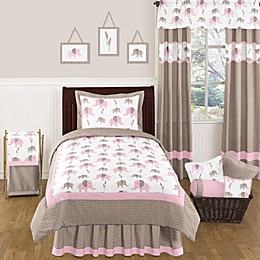Sweet Jojo Designs Mod Elephant Bedding Collection in Pink/Taupe