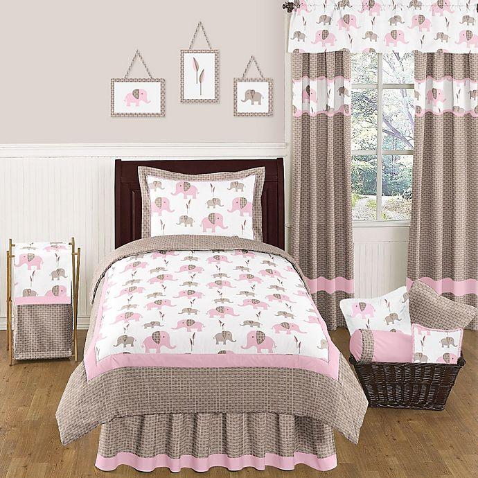 Alternate image 1 for Sweet Jojo Designs Mod Elephant 4-Piece Twin Comforter Set in Pink/Taupe