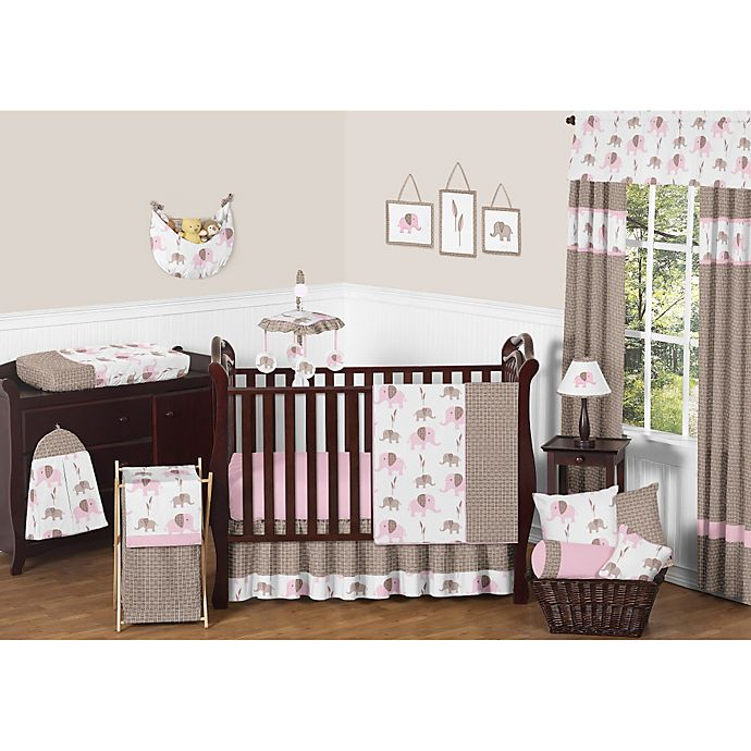 Alternate image 1 for Sweet Jojo Designs Mod Elephant Crib Bedding Collection in Pink/Taupe
