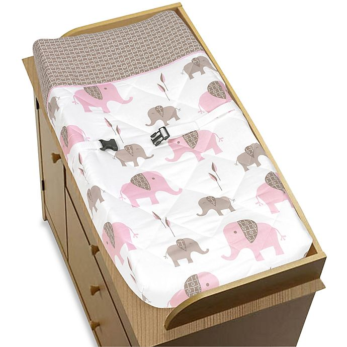 Alternate image 1 for Sweet Jojo Designs Mod Elephant Changing Pad Cover in Pink/Taupe