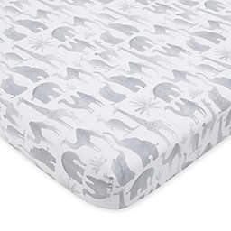 NoJo Elephant Tribe Cotton Fitted Sheet in Grey